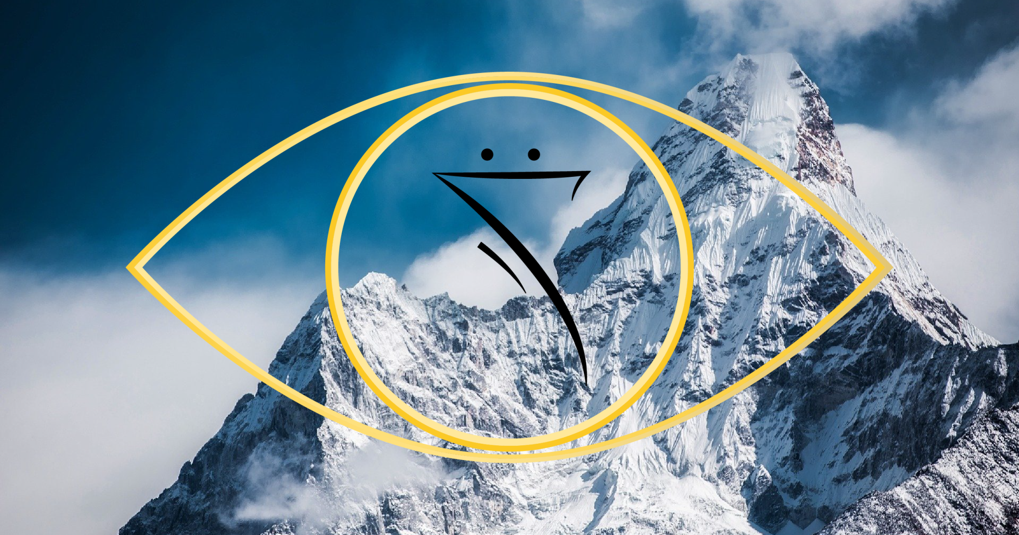 The Escapists header featuring some mountains and a golden eye with a backwards 7 in the middle.